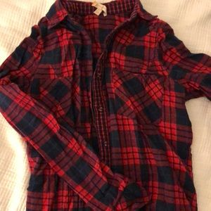 Red and black plaid button down shirt
